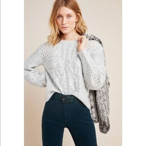 🟢 NWT Anthropologie JOA Cable Knit Gray Sweater